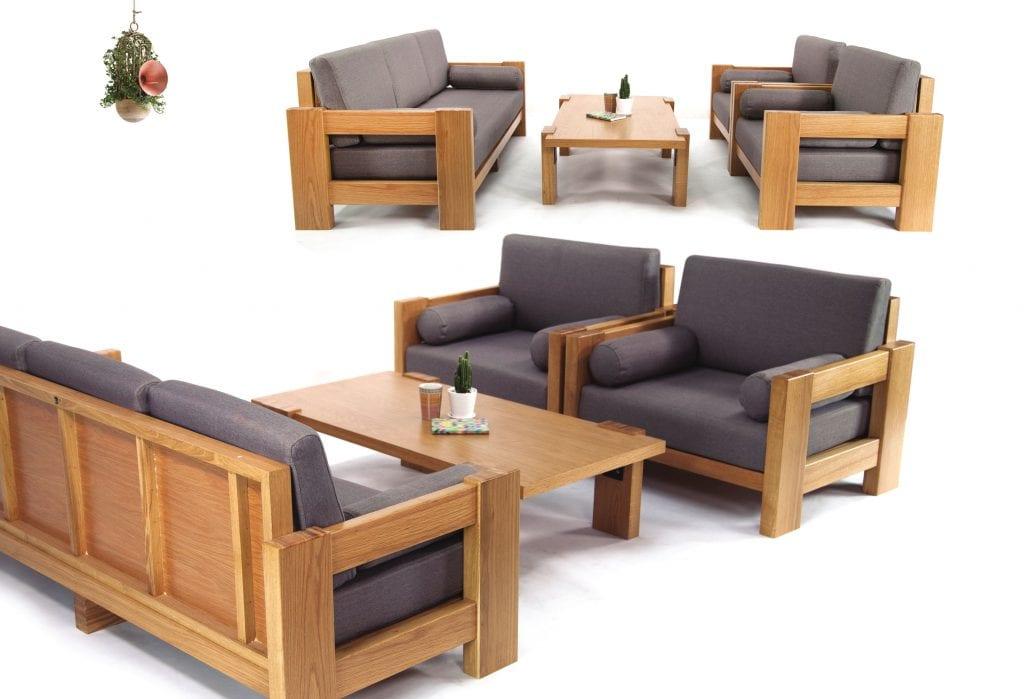 Bàn trà gỗ cao su mang sự khác lạ vào không gian phòng khách